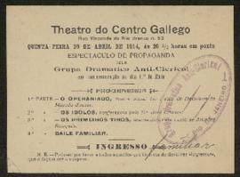 Panfleto de divulgação do Grupo de Dramático Anti-Clerical (Teatro do Centro Gallego)