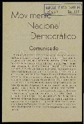 Comunicado do Movimento Nacional Democrático.