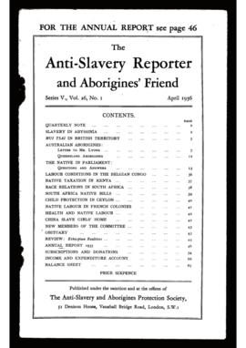 """The Anti-Slavery Reporter and Aborigines's Friend"". Ed. Anti-Slavery & Aborigines Protection Society. Series V, Vol. 26, N.º 1 (April, 1936)."