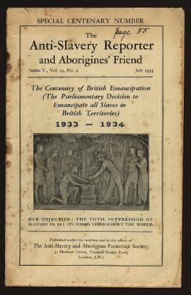 """The Anti-Slavery Reporter and Aborigines's Friend"". Ed. Anti-Slavery & Aborigines Protection Society. Series V, Vol. 23, N.º 2 (July, 1933)."
