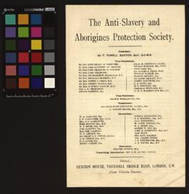 Brochura informativa da Anti-Slavery and Aborigines Protection Society, com âmbito, objectivos e ...