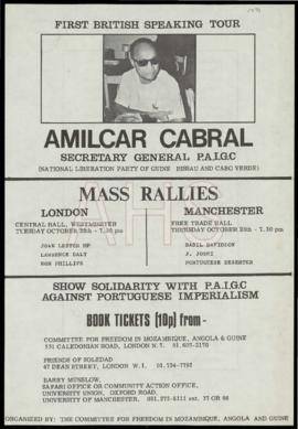 «First British Speaking Tour: Amilcar Cabral, Secretary General PAIGC»