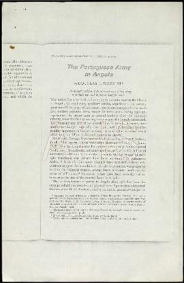 "WHEELER, Douglas L., ""The Portuguese Army in Angola, in The Journal of Modern African Studie..."