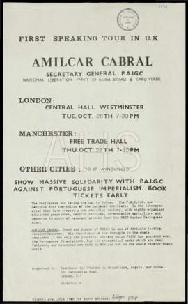 «First speaking tour in U.K.: Amilcar Cabral, Secretary General do PAIGC»