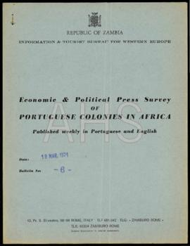 «Economic & Political Press Survey of Portuguese Colonies in Africa published weekly in Portuguese and English»