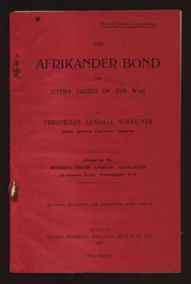 The Afrikander Bond and other Causes oh the War