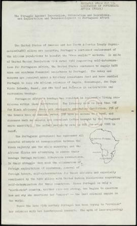 «The Struggle Against Imperialism, Colonialism and Dependency, and Exploitation and Underdevolopment in Portuguese Africa»